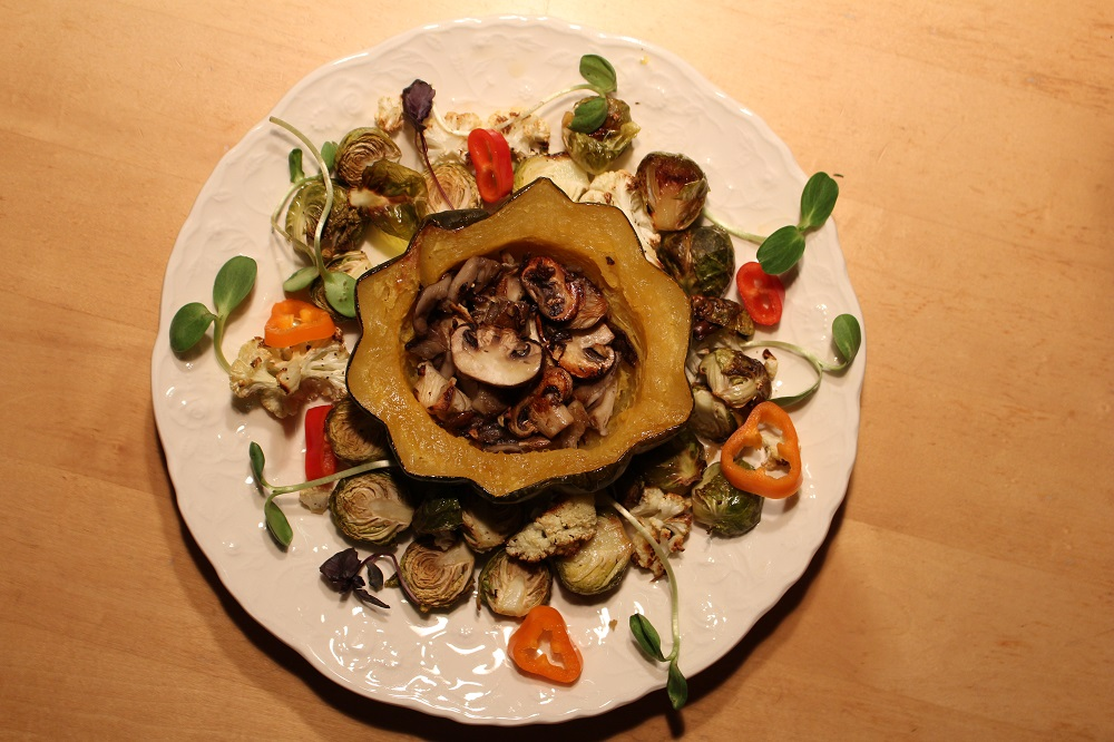 Baked Acorn Squash with Roasted Veggies
