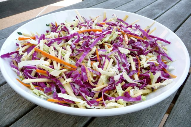 Red Cabbage, Apple, and Carrot Coleslaw