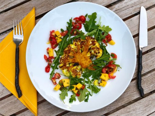 Golden Cauliflower Steaks with Mango Salsa