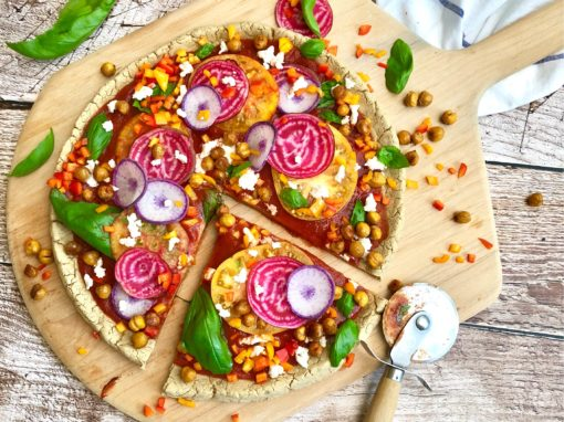 Vegan Confetti Pizza with Gluten-Free Chaga Crust