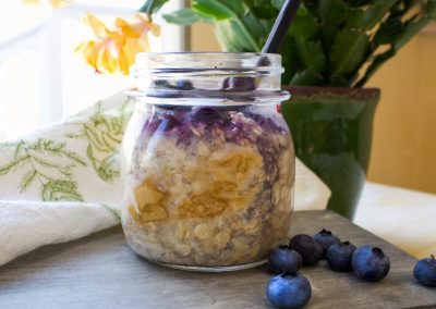 Overnight Oats with Almond Butter and Blueberries