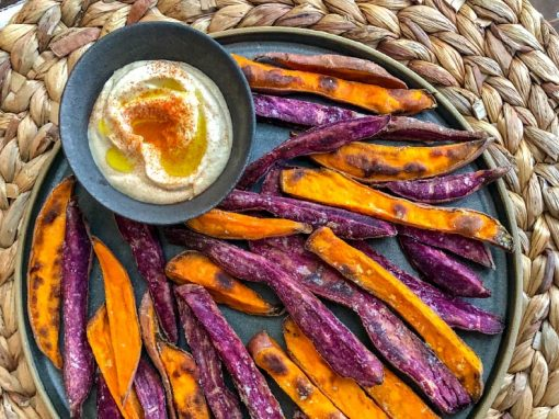 Sweet Potato Baked Fries and Hummus