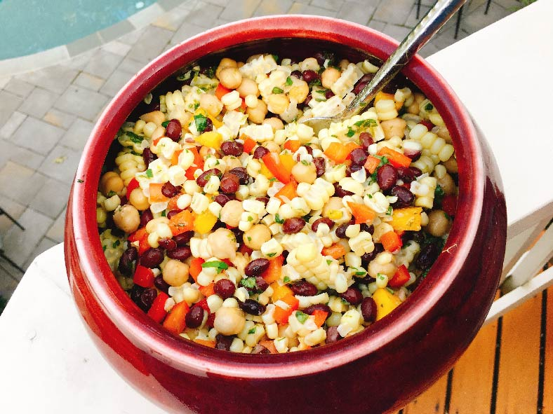 Nourished Body and Mind Corn, black bean and mango Salad