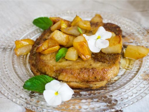 Vegan French Toast with Caramelized Pears